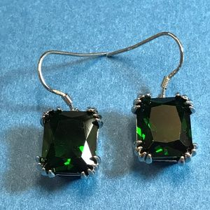 Jewelry - Sterling Silver and Green Crystal Earrings